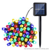 Angeschaltenes 100 LED-buntes im Freienweihnachtszeichenkette-Solarlicht