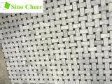 Le noir de marbre blanc italien de tuile de mosaïque de Carrare Basketweave pointille 1 x 2