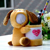 Divertido perro de peluche de 15cm contenedor Lápiz Muñeco de cara 3D