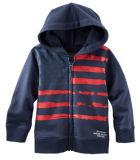 Commerce de gros bon marché noir de l'homme et des enfants Striped Hoodie vestes Vêtements en molleton polaire