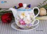 O Chá de porcelana para um conjunto com adesivo de flor rosa (SPJ12-TS002)