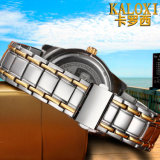 2색조 로즈 금 스테인리스 팔찌를 가진 남자 그리고 여자를 위한 형식 손목 시계