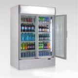 Amerikanische Art-Doppelt-Glastür vertikale Dsplay Schaukasten-Supermarkt-Kühlraum-Getränkekühlvorrichtung
