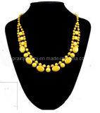 La moda de primavera joyas collar amarillo, Cordón amarillo oro chapado en aleación de resina