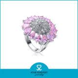 Rosa Rosa mayorista anillo plata en Stock (R-0054)