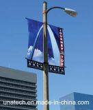Via Palo del metallo che fa pubblicità alla base della bandiera di media di immagine di promozione (BS42)