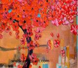 赤い花の木のホーム装飾の壁の芸術の油絵