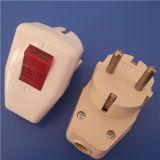 Spina di adattatore europea dell'adattatore dello zoccolo del rame dell'ABS con indicatore luminoso (RJ-3129)