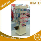 Вращаться хлопает вверх деревянный вися стеклянный шкаф индикации для игрушки/ключа/орнаментов/поздравительной открытки