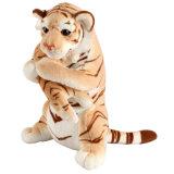 Coutume douce animale de peluche de jouet de tigre debout de momie et de bébé