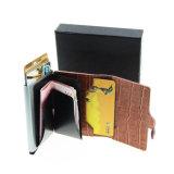 1. Хлопните вверх кожаный бумажник зажима деньг с людьми аргументы за карточки