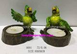 Harz-Kerze-Halter mit grüner Papageien-Statue