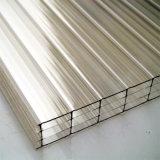 Hoja hueco revestida ULTRAVIOLETA del policarbonato de cuatro paredes para la ventana