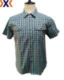 مغزول صبغ إمتداد [بوبلين] رجل قميص مع اثنان جيب تلاءم مع جسم