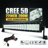 구부려진 30 인치 180W 이중 줄 5D LED 표시등 막대