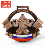 Comercio al por mayor de metal personalizados baratos Premio 3D en el cuello la medalla de cintas cortas