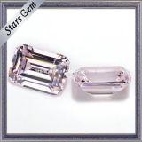 La esmeralda cortó la piedra cúbica sintetizada rosa clara del Zircon de 5X7m m hecha en fábrica