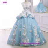 Weiße Spitze Appliqued blaues Brautkleid-Hochzeits-Kleid