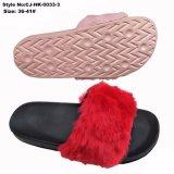 As mulheres deslize Sândalo EVA Sole Plush Fur Chinelos
