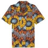 OEMは最も遅く人のアフリカのワックスのワイシャツの青い海洋パターンブラウスを設計する