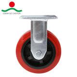 Roter PU-Schwenker mit Gesamtbremsen-Hochleistungsfußrolle