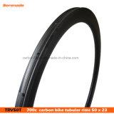 la bicicleta china del carbón de la fábrica 7-Tiger bordea 50 23 bordes ultraligeros de la bici de la anchura de las ruedas tubulares del camino