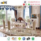 Tabela de jantar quadrada da mobília de madeira européia do estilo com mármore (HC64)