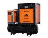 Allí en un compresor de aire del tornillo de la alta calidad con el secador y el tanque