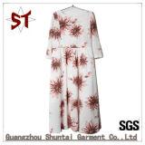 Blumen-Muster-langes Kleid der Polyester-Frauen elegantes