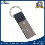 昇進の丸型のブランクの革Keychain