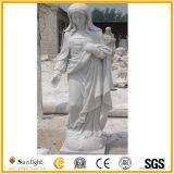 Les travailleurs qualifiés en marbre blanc sculpté à la religion Sculpture statue de Vierge Mary