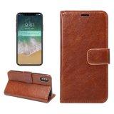 Verrückter Pferd PU-Leder-Kippen-Mappen-Kasten-Deckel für iPhone 8 mit Kartenhalter