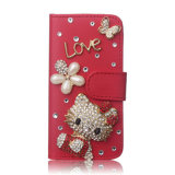 Luxury Jóias Diamond Bonitinha Hello Kitty Card Caso Telefone de couro para iPhone 7/7plus/8/8plus