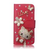 Cassa sveglia del telefono del cuoio della scheda del gattino di ciao del diamante di lusso di Bling per il iPhone 7/7plus/8/8plus