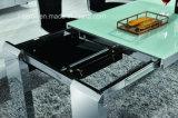 Le verre trempé haut MDF en acier inoxydable Table à manger extensible