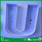Cartas de canal de acrílico fabricadas iluminadas delanteras del epóxido de la resina del halo del LED