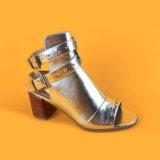 Mujeres Silver Metallic mediados sandalias de tacón botas para niñas
