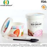 Comercio al por mayor 12oz Tazón de helado de papel con tapa y cuchara