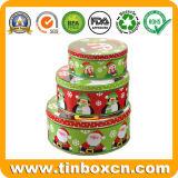 De ronde die Doos van het Tin van het Metaal voor de Bakkerij van de Koekjes van de Cracker van het Koekje wordt geplaatst