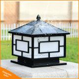 Schwarze im Freien Pfosten-Pfosten-Solarlampe des Garten-Licht-LED angeschaltene