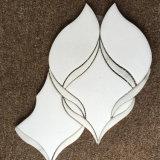 Thassos смешанного белого каррарского мрамора белого струей воды вырезать мозаика полированной плиткой на стене