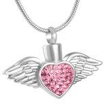 Пера крыла ангела Stainess шкентель урны кремации сердца стального кристаллический