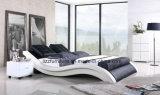 Base di cuoio moderna di stile della camera da letto europea dell'onda con il blocco per grafici di legno