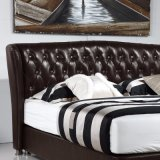 Кровать кожи мебели спальни конструкции двойной кровати способа самомоднейшая (FB3072)