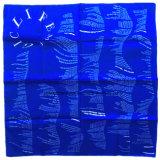 OEMの農産物はロゴによって印刷された綿の青いHeadwrapのバンダナの製造業者をカスタマイズした