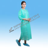 Vestido paciente barato no tejido, vestido verde del hospital