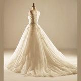 Applique Lace Cordão Button Suite Robes de casamento