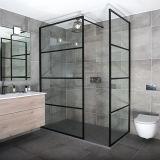 Casa de Banho de 8 mm da estrutura em alumínio preto vidro temperado para duche