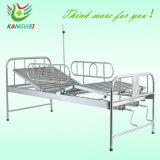 Cama de hospital de acero del Plástico-Aerosol con dos manivelas