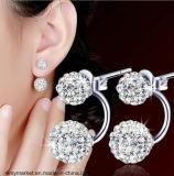 한국 작풍 빛나는 귀 반지 귀 장식 못 두 배 측 은 Diamante 형식 귀걸이